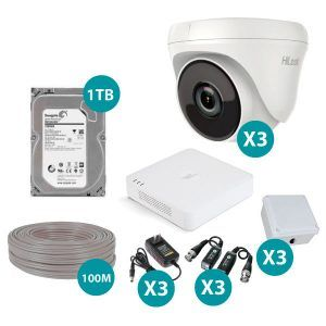 Kit De 3 Camaras Domo Hilook 1080p Full HD Con Dvr De 4 Canales Epcom y Disco Duro de 1TB